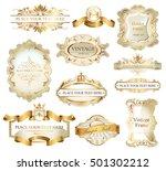 vintage labels set | Shutterstock .eps vector #501302212