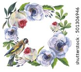 wildflower anemone flower frame ... | Shutterstock . vector #501306946