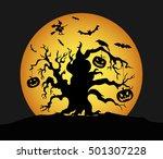 halloween pumpkins on the tree. ... | Shutterstock .eps vector #501307228