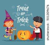 happy halloween. cute cartoon... | Shutterstock .eps vector #501309676