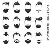 hipster fashionable beard... | Shutterstock .eps vector #501314146