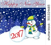 new year card with snowman and... | Shutterstock .eps vector #501324685