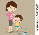 angry boy hitting him mother... | Shutterstock .eps vector #501335422