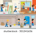 workers make repairs in the... | Shutterstock .eps vector #501341656