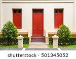 Red Door   Red Window On Cream...