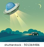 ufo abducts human from car | Shutterstock .eps vector #501364486