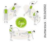 doodle set of leg workout ... | Shutterstock .eps vector #501365002