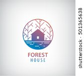 Stock vector vector house in the woods logo cabin in the forest silhouette logotype property icon 501365638