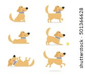 Stock vector set of dog poses vector illustration 501366628