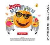 halloween sale pumpkin lantern  ... | Shutterstock .eps vector #501369232
