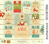 christmas sale tags in vintage... | Shutterstock .eps vector #501387886