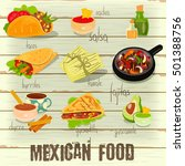 mexican food menu card with...   Shutterstock .eps vector #501388756