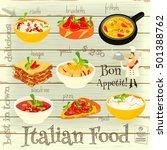 italian food menu card with... | Shutterstock .eps vector #501388762