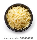 Bowl Of Grated Cheese Isolated...