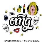 omg. creative stickers and... | Shutterstock .eps vector #501411322