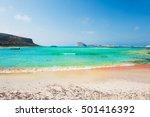 beautiful beach with pink sand... | Shutterstock . vector #501416392