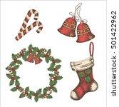 christmas vintage set of bells  ... | Shutterstock .eps vector #501422962