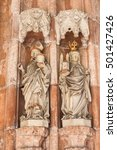Small photo of Statues of Saint Rupert - the founder of Nonnberg Abbey, and his niece Saint Erentrude - the first abbess of Nonnberg Abbey. Portal of the collegiate church of Nonnberg Abbey.