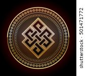 endless knot  a golden colored... | Shutterstock .eps vector #501471772
