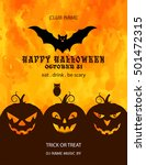 happy halloween with pumpkin ... | Shutterstock .eps vector #501472315
