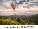 hot air balloon over forest... | Shutterstock . vector #501487336