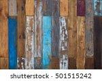 Vintage Colorful Old Wooden...