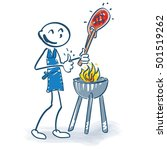 stick figure with grilling meat | Shutterstock .eps vector #501519262