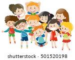 many children with happy face... | Shutterstock .eps vector #501520198