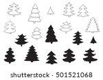 fir tree line silhouette set | Shutterstock . vector #501521068
