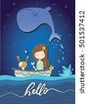 girl illustration sea theme t... | Shutterstock .eps vector #501537412