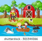kids rowing boat in the river ... | Shutterstock .eps vector #501544366
