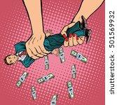 female hands squeeze men money  ... | Shutterstock .eps vector #501569932