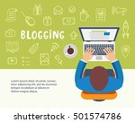 blogging concept. man typing an ... | Shutterstock .eps vector #501574786