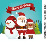 happy merry christmas snowman... | Shutterstock .eps vector #501581182