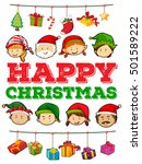 christmas theme with people and ... | Shutterstock .eps vector #501589222
