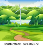 windmill tower in the field... | Shutterstock .eps vector #501589372