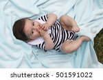 baby dressed as a sailor with... | Shutterstock . vector #501591022