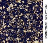 paisley floral  vector seamless ... | Shutterstock .eps vector #501594982