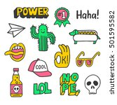 set of stickers  pins  patches... | Shutterstock .eps vector #501595582