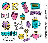 set of stickers  pins  patches... | Shutterstock .eps vector #501595612