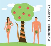 adam and eve with a snake and a ... | Shutterstock .eps vector #501604426