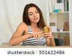 happy girl using her smartphone ... | Shutterstock . vector #501622486