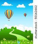 hot air balloon over green... | Shutterstock .eps vector #50162662