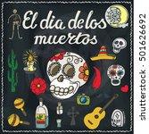 dia de los muertos day .mexico... | Shutterstock .eps vector #501626692