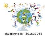 circle of happy children of... | Shutterstock .eps vector #501633058