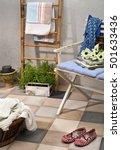 outdoor patio seating area in... | Shutterstock . vector #501633436