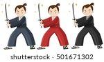 samurai in three colors costume ... | Shutterstock .eps vector #501671302