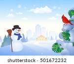 vector illustration of a winter ... | Shutterstock .eps vector #501672232