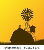 farm windmill  barn  fence ...   Shutterstock .eps vector #501675178