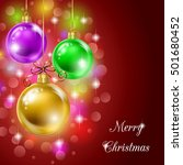 background with christmas balls ... | Shutterstock .eps vector #501680452